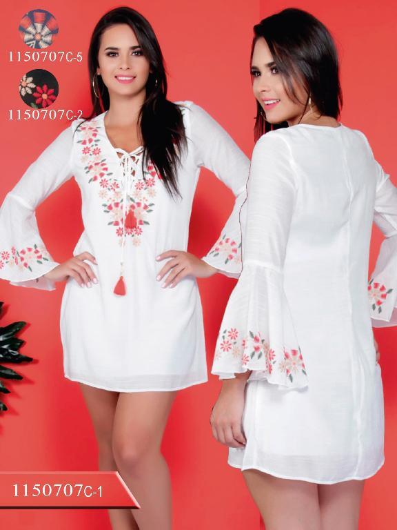 Vestido Moda Colombiana Colors  - Ref. 254 -1150707C-1 Blanco