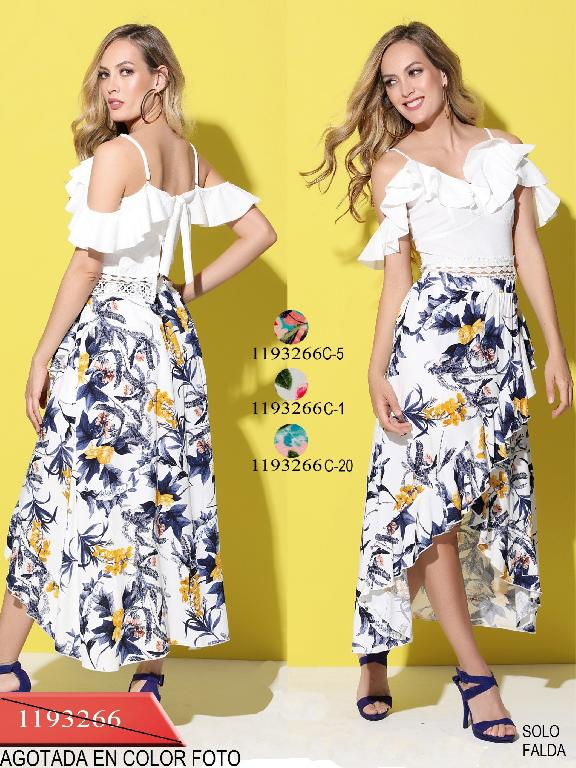 Colombian Knee Skirt Flower Colors  - Ref. 254 -1193266C-1 Blanco