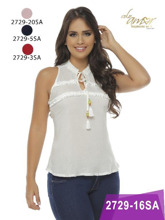 Blusa Moda Colombiana Solo Amor  - Ref. 246 -2729-5 Azul