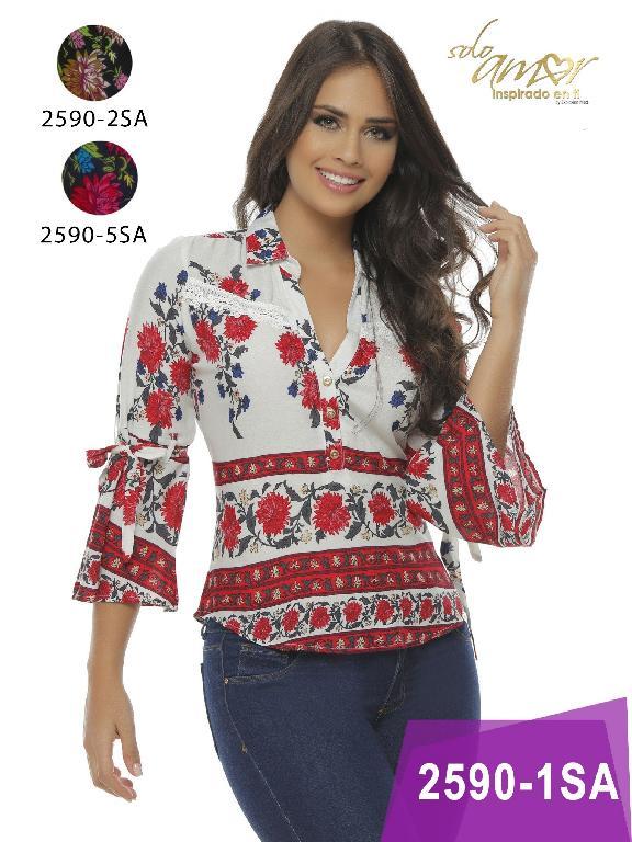 Blusa Moda colombiana Solo Amor  - Ref. 246 -2590-2 Negro