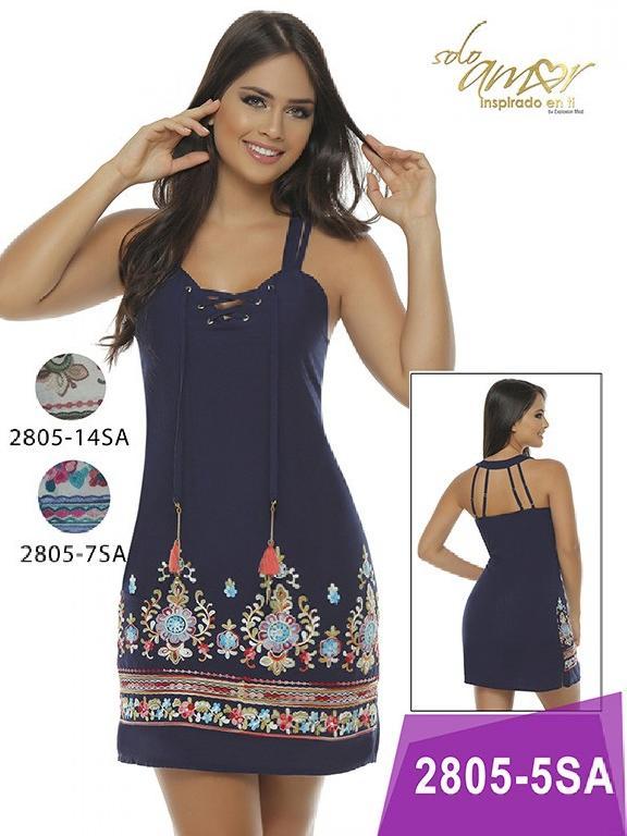 Vestido Moda Colombiana Solo Amor - Ref. 246 -2805-7 Fucsia