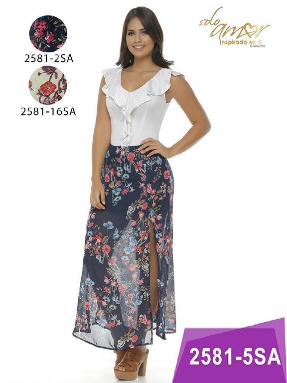 Vestido Moda Colombiana Solo Amor - Ref. 246 -2581-5 Azul