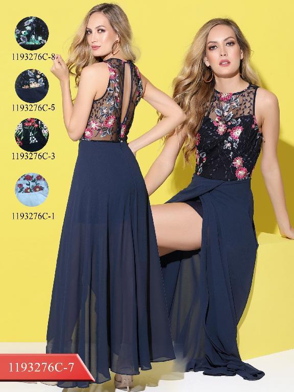 Colombian Long Dress Blue Colors  - Ref. 254 -1193276C-7 Fucsia