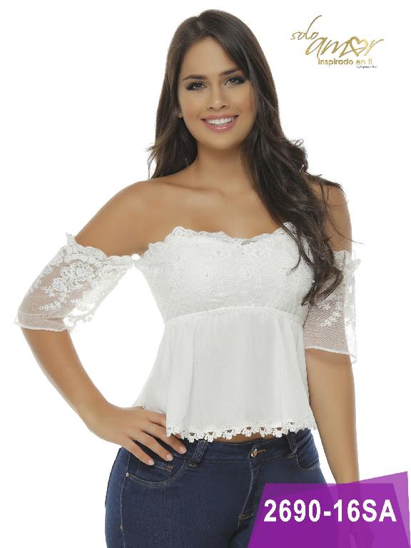 Blusa Moda Colombiana Solo Amor  - Ref. 246 -2690-16 Beige