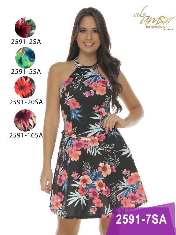 Vestido Moda Colombiana Solo Amor - Ref. 246 -2591-5 Azul