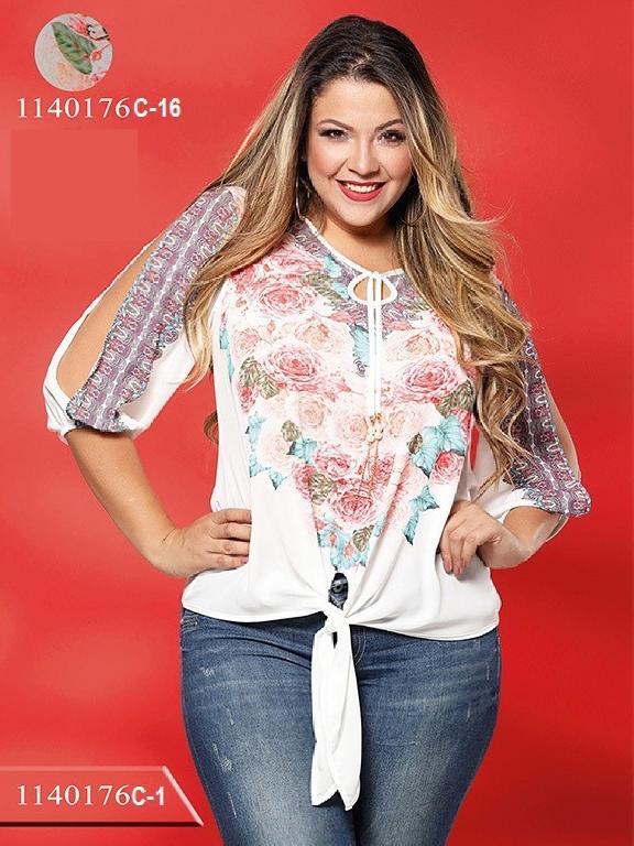 Blusa Moda Colombiana Colors Plus Size - Ref. 254 -1140176C-16 Beige