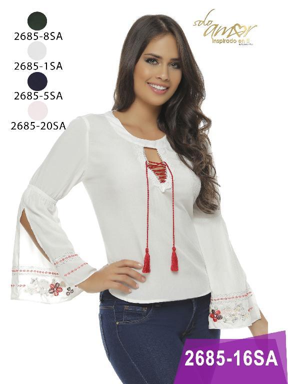 Blusa Moda Colombiana Solo Amor  - Ref. 246 -2685-5 Azul
