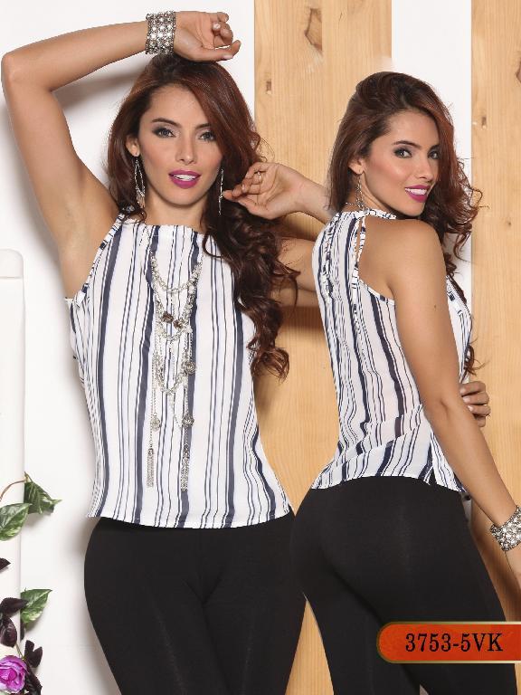 Blusa Moda Colombiana Vikats - Ref. 252 -3753-5 VK Azul