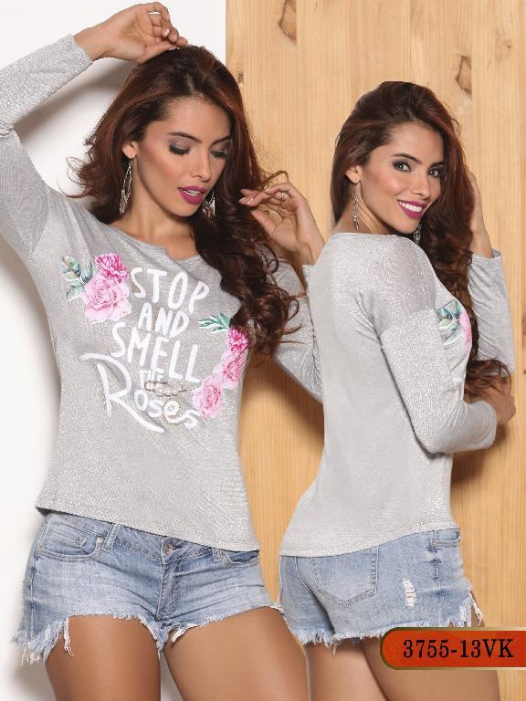 Blusa Moda Colombiana Vikats - Ref. 252 -3755-13 VK Gris