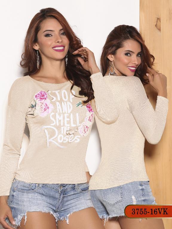 Blusa Moda Colombiana Vikats - Ref. 252 -3755-16 VK Beige