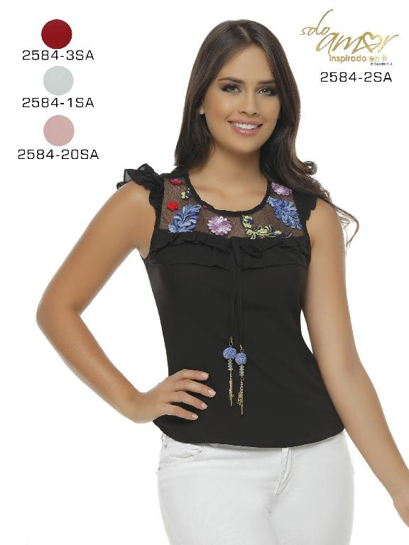 Blusa Moda Colombiana Solo Amor  - Ref. 246 -2584-1 Blanco