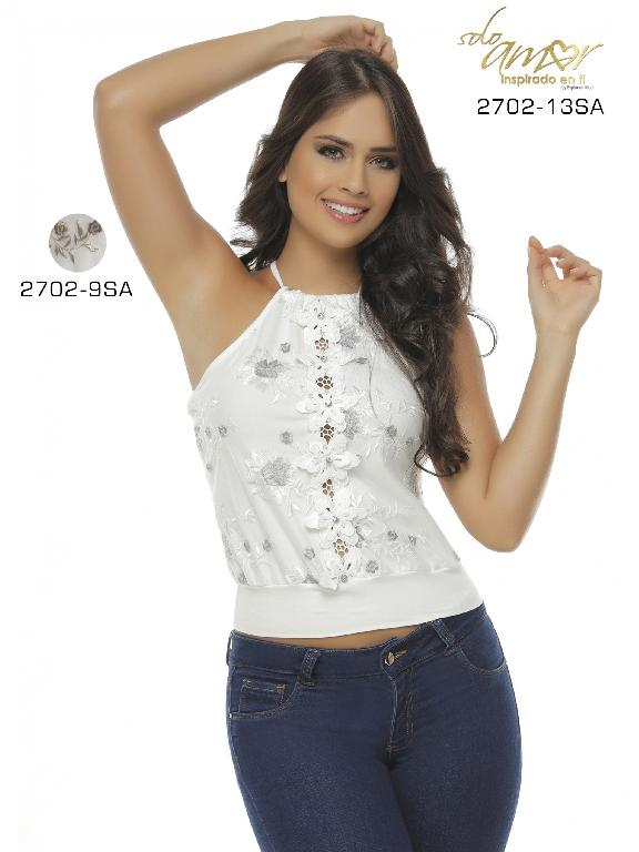 Blusa Moda Colombiana Solo Amor  - Ref. 246 -2702-9 Beige-Cafe