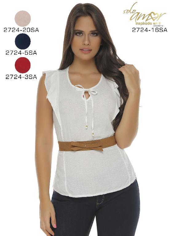 Blusa Moda Colombiana Solo Amor  - Ref. 246 -2724-5 Azul