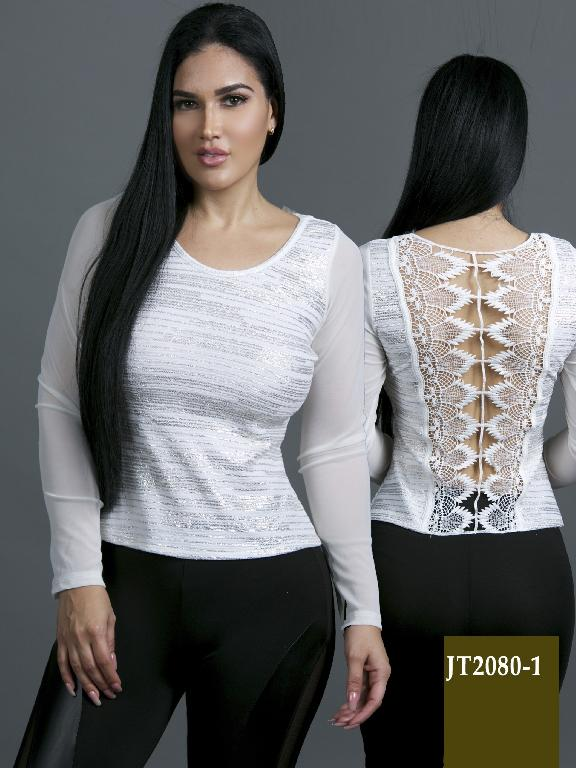 Colombian Classic Blouse White and silver Color Azulle Fashion - Ref. 256 -JT2080-1 Blanco