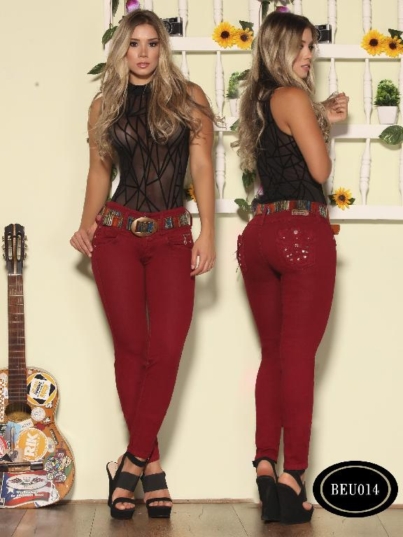 Colombian Jeans Butt Lifting Red Wine Color  Bambu - Ref. 241 -BEU 014