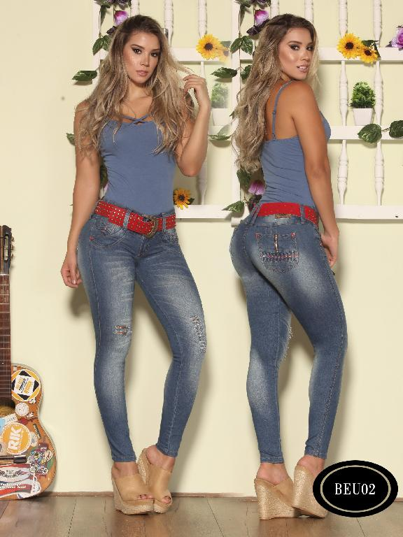 Colombian  Butt Lifting Jeans Blue Color Bambu - Ref. 241 -BEU 02