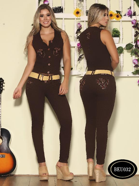 Colombian Jeans Butt Lifting Denim Sexy Vest and Jean Red Wine Color Bambu  - Ref. 241 -BEU 032