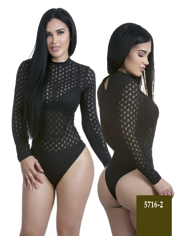 Colombian Sexy Bodysuit Black Color Azulle Fashion  - Ref. 256 -5716-2 Negro