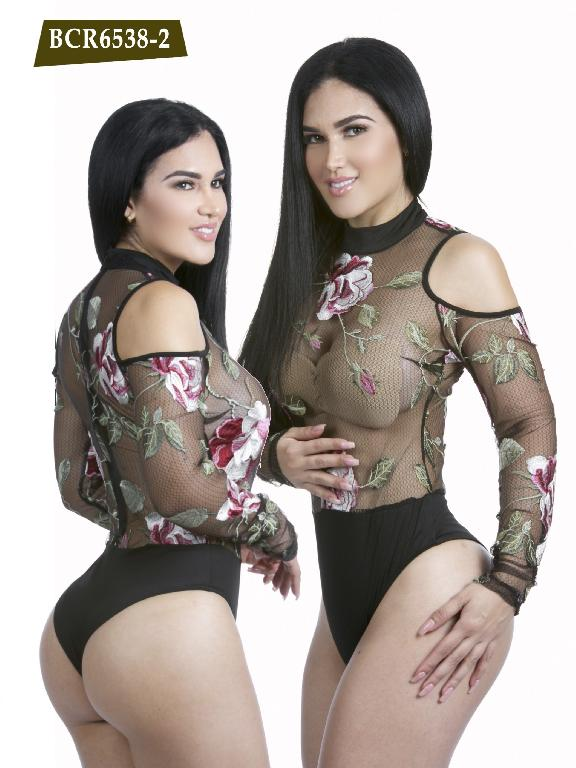 Colombian Sexy BodySuit with Flowers Black Color Azulle Fashion - Ref. 256 -BCR6538-2 Negro