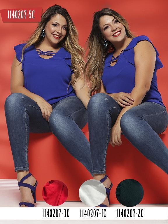 Blusa Moda Colombiana Colors - Ref. 254 -1140207-1C Blanco