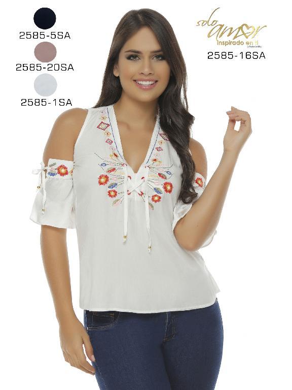 Blusa Moda Colombiana Solo Amor  - Ref. 246 -2585-1 Blanco