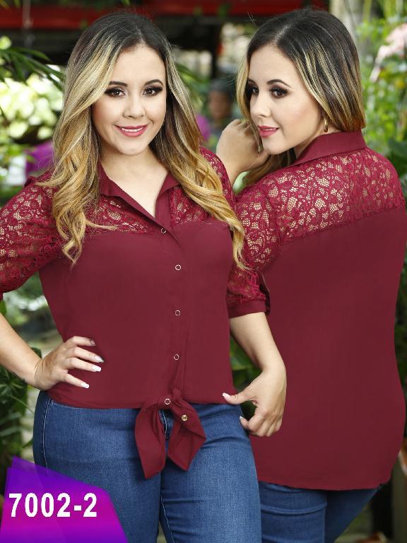 Blusa Moda Colombiana Thaxx Size Plus - Ref. 119 -7002-2 Vinotinto