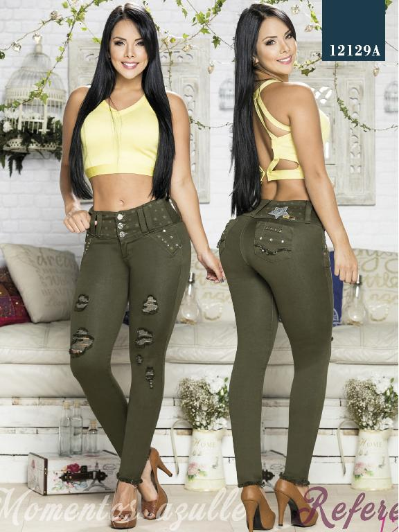Colombian Jeans Butt Lifting Olive Green Azulle  - Ref. 232 -12129 AZ