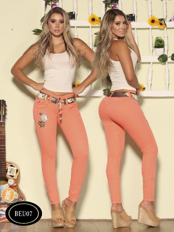 Colombian Jeans Butt Lifting Peach Color Bambu - Ref. 241 -BEU 07