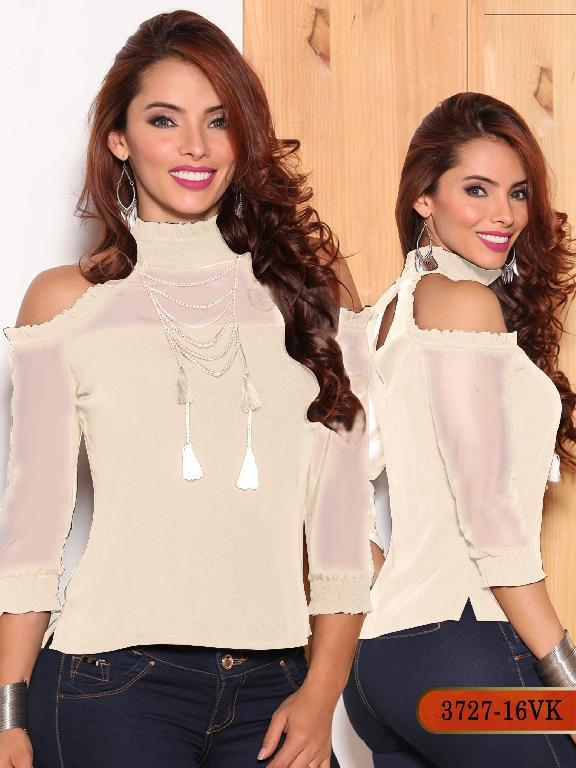 Blusa Moda Colombiana Vikats - Ref. 252 -3727-16 VK Beige