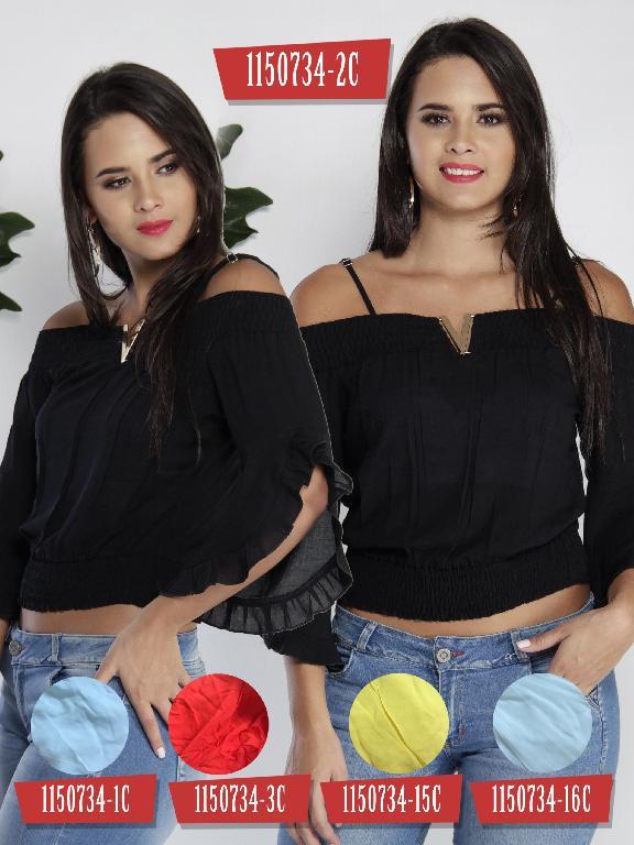 Blusa Moda Colombiana Colors - Ref. 254 -1150734-1C Blanco