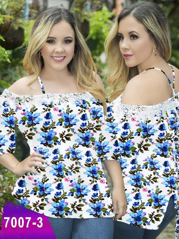 Blusa Moda Colombiana Thaxx Size Plus - Ref. 119 -7007-3 Azul