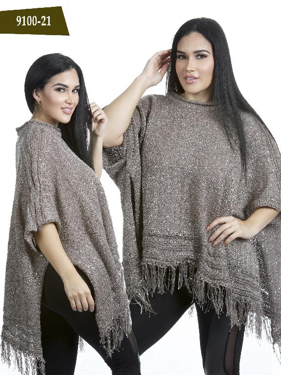 Colombian Poncho Sweater Gold Color Azulle Fashion  - Ref. 256 -9100-21 Dorado