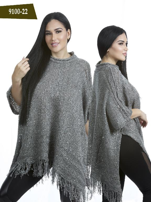 Colombian Poncho Sweater Silver  Azulle Fashion  - Ref. 256 -9100-22 Plateado
