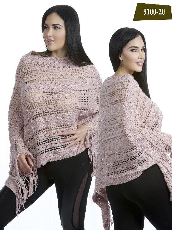 Colombian Poncho Aweter Pink Azulle Fashion  - Ref. 256 -9100-20 Rosado