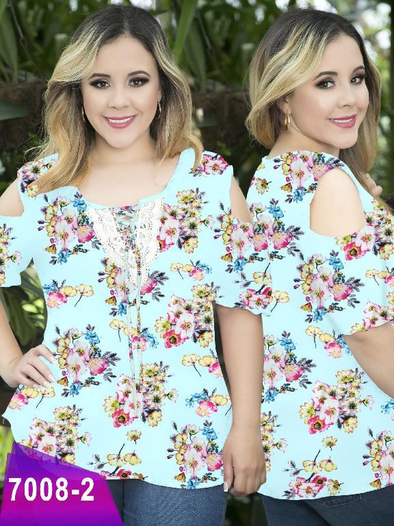 Blusa Moda Colombiana Thaxx Size Plus - Ref. 119 -7008-2 Azul