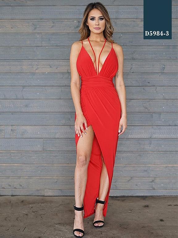 Vestido Moda Azulle Fashion - Ref. 256 -D5984-3 Rojo