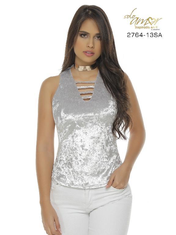 Blusa Moda Colombiana Solo Amor  - Ref. 246 -2764-13 SA Gris