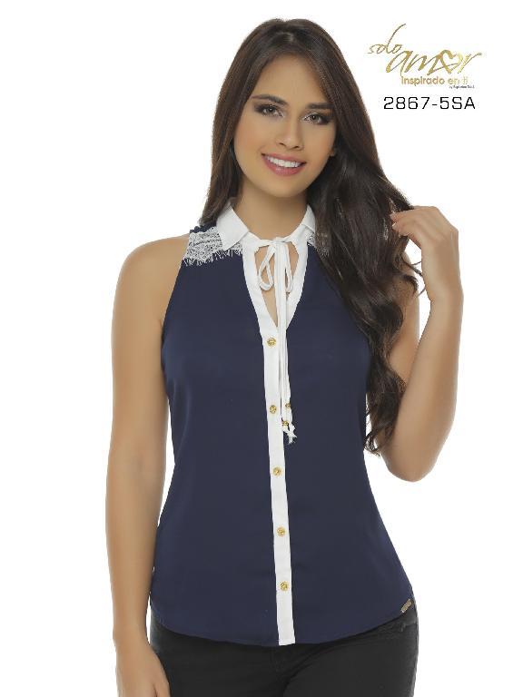 Blusa Moda Colombiana Solo Amor - Ref. 246 -2867-5 SA Azul