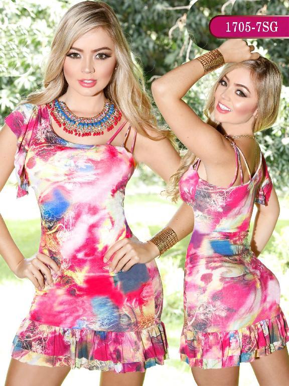 Vestidos Moda colombiana Signos - Ref. 259 -1705-7 SG Fucsia