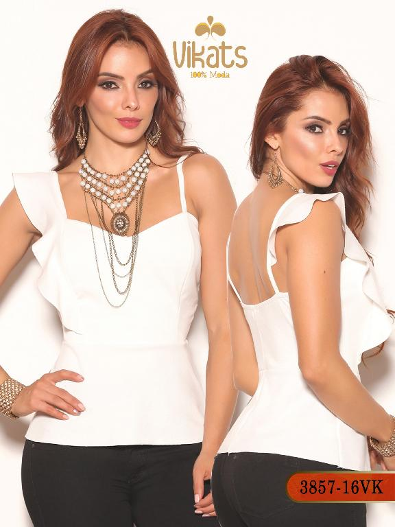 Blusa Moda Colombiana Vikats - Ref. 252 -3857-16 VK Beige