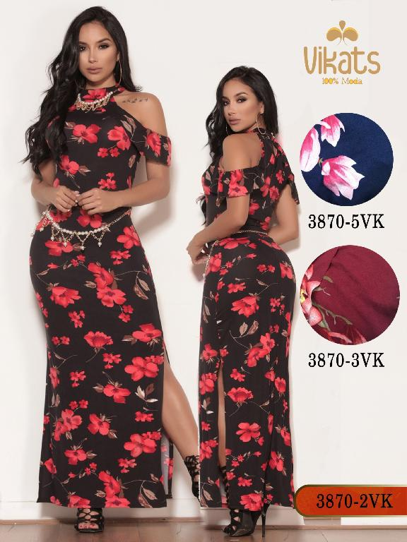 Vestido Moda colombiana Vikats - Ref. 252 -3870-5 VK Azul