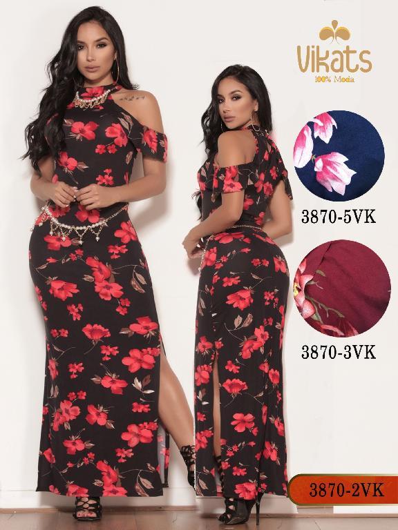 Vestido Moda colombiana Vikats - Ref. 252 -3870-3 VK Rojo