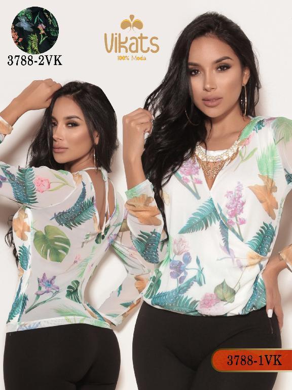 Blusa Moda Colombiana Vikats - Ref. 252 -3788-1 VK Blanco