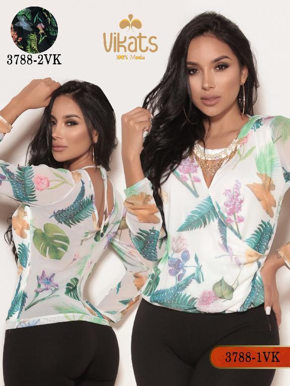 Blusa Moda Colombiana Vikats - Ref. 252 -3788-2 VK Negro