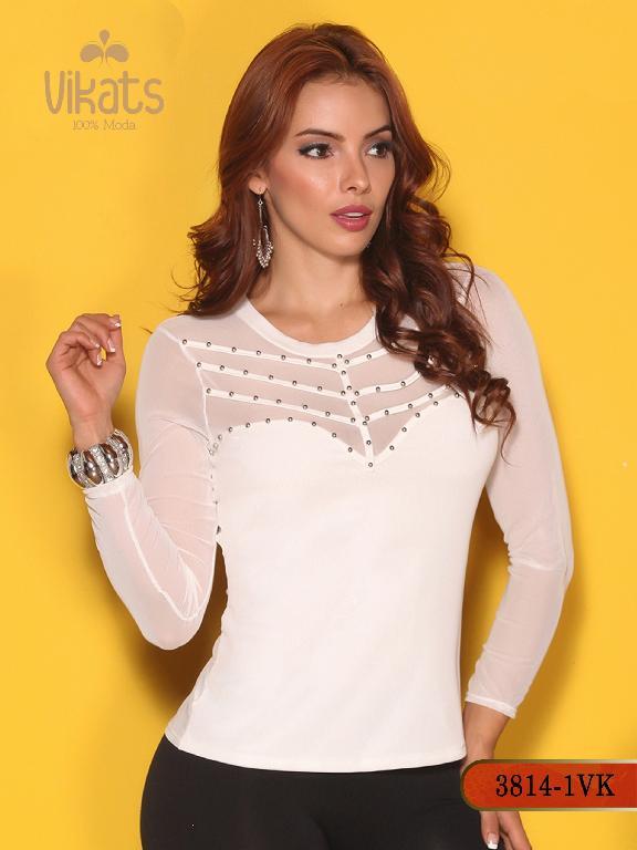 Blusa Moda Colombiana Vikats - Ref. 252 -3814-1 VK Blanco
