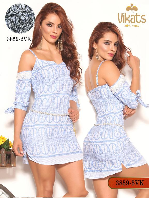 Vestido Moda Colombiana Vikats - Ref. 252 -3859-5 VK Azul