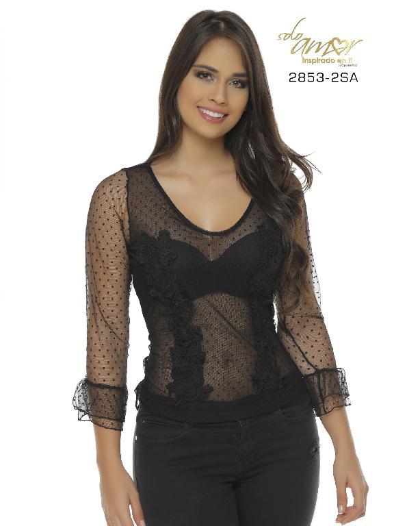 Blusa Moda Colombiana Solo Amor - Ref. 246 -2853-2 SA Negro