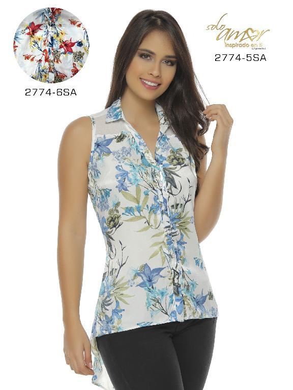 Blusa Moda Colombiana Solo Amor - Ref. 246 -2774-5 SA Azul