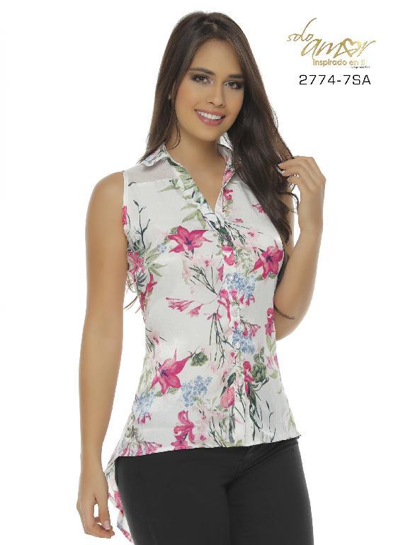 Blusa Moda Colombiana Solo Amor - Ref. 246 -2774-7 SA Fucsia