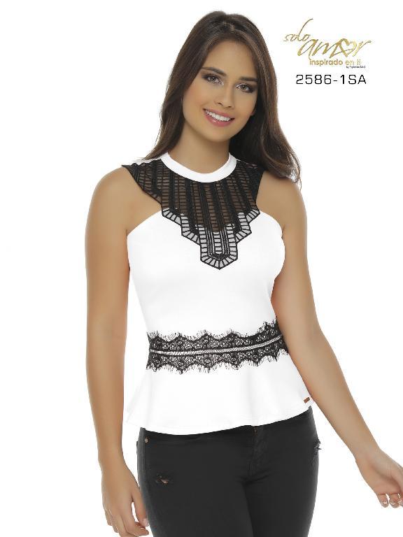 Blusa Moda Colombiana Solo Amor - Ref. 246 -2586-1 SA Blanco
